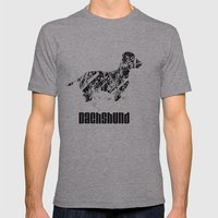 Dachshund In The Snow Mens Fitted Tee Athletic Grey SMALL