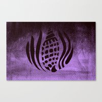 Canvas Print featuring She Sells Sea Shells ( black and purple) by Candace Fowler Ink&Co.