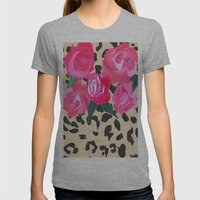 Roses and Leopard Print Womens Fitted Tee Athletic Grey SMALL