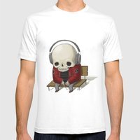 Music Skull Mens Fitted Tee White SMALL