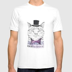 MR. CAT SMALL Mens Fitted Tee White