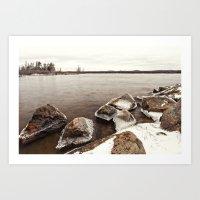 Icy Rocks  On The Lake Art Print