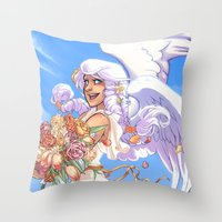 Angel Bloom Throw Pillow