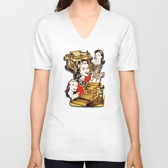 Quirky Office Gals V-neck T-shirt