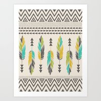 Painted Feathers-Cream Art Print