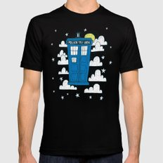 blue box SMALL Mens Fitted Tee Black