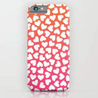 White Hearts On Pink-Orange iPhone 6 Slim Case