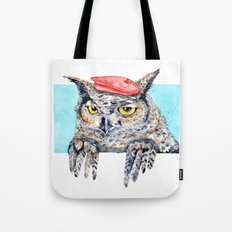 Serious Horned Owl in Red Beret  Tote Bag