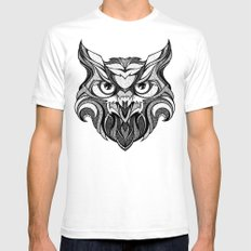 Owl - Drawing SMALL Mens Fitted Tee White