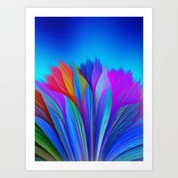 Flower Fantasy in Blue Art Print