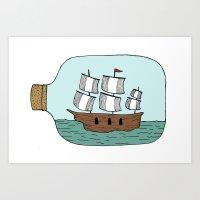Ship In A Bottle Art Print