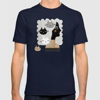 STRAY CAT Mens Fitted Tee Navy SMALL