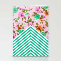 Tropical Floral Chevron Stationery Cards