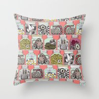 weird pickles coral Throw Pillow