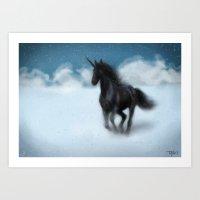 Black Unicorn Art Print