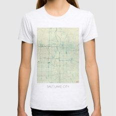 Salt Lake City Map Blue Vintage Womens Fitted Tee Ash Grey SMALL