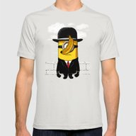 Magritte Banana Mens Fitted Tee Silver SMALL