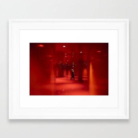 Green Girl Red Room Framed Art Print