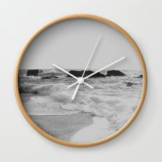 Greek seascape - black and grey sea rocks - Ionia island, Lefkada Wall Clock