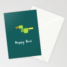 Happy Bird-Green Stationery Cards