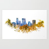 Minneapolis Skyline  --  double exposure with treetops Art Print