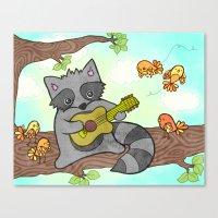 Serenading Raccoon Canvas Print
