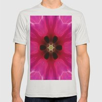 Pink Flower Abstract Mens Fitted Tee Silver SMALL