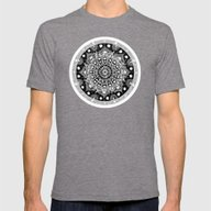 Black And White Mandala  Mens Fitted Tee Tri-Grey SMALL