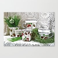 Old Cups And Greens - Pa… Canvas Print