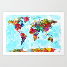 World Map of Splattered Paint Art Print
