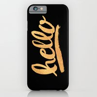 Hello Hand lettering - Black and gold iPhone 6 Slim Case