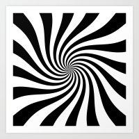 Swirl (Black/White) Art Print