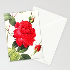 IX. Vintage Flowers Botanical Print by Pierre-Joseph Redouté - Red Rose Stationery Cards