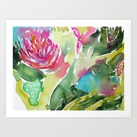 Art Prints featuring Floral abstraction || watercolor by Katerina Izotova