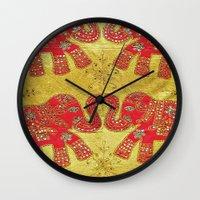 Orange Elephants  Wall Clock