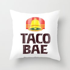 Taco Bae Vintage Print Throw Pillow