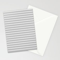 Horizontal Lines (White/Silver) Stationery Cards