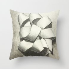 Ribbon - Graphite Illustration Throw Pillow