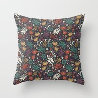 Midnight Florals Throw Pillow