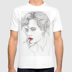 GIRL With The CIGARETTE Mens Fitted Tee White SMALL