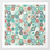 hex diamond coral mint Art Print