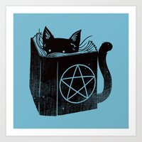 WITCHCRAFT CAT (Blue) Art Print