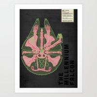 Spaceship Skeletal Survey: The Millennium Falcon Art Print