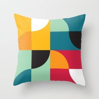 Squares & Curves Throw Pillow