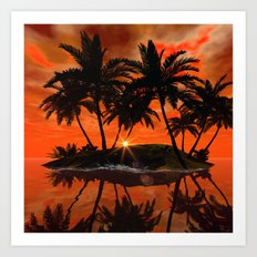 Wonderful red sunset Art Print