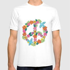 Flower Peace Sign SMALL Mens Fitted Tee White
