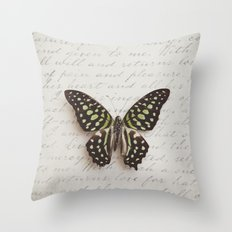 Graphium agamemnon butterfly Throw Pillow