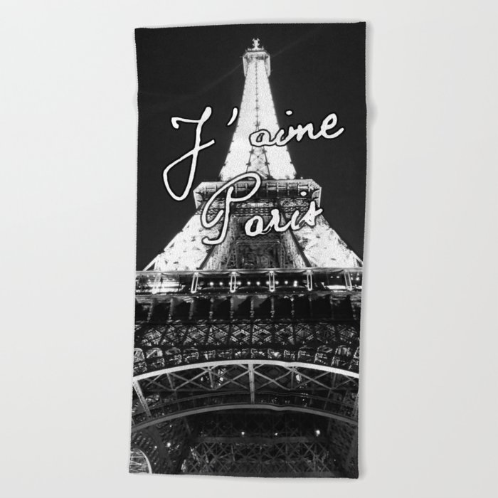 j'aime paris eiffel tower beach towel