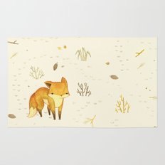 Lonely Winter Fox Rug