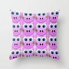 Dirty Little Piggies Throw Pillow